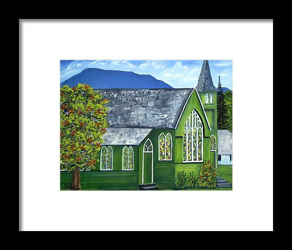 Landscape Framed Print featuring the painting Hanalei Church by SheRok Williams