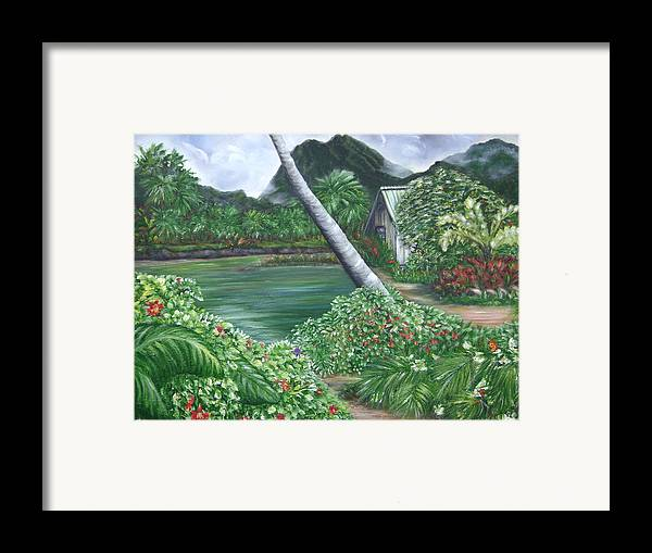 Tropical Gardenscape Framed Print featuring the painting Hanalei Kanaka House by Laura Johnson