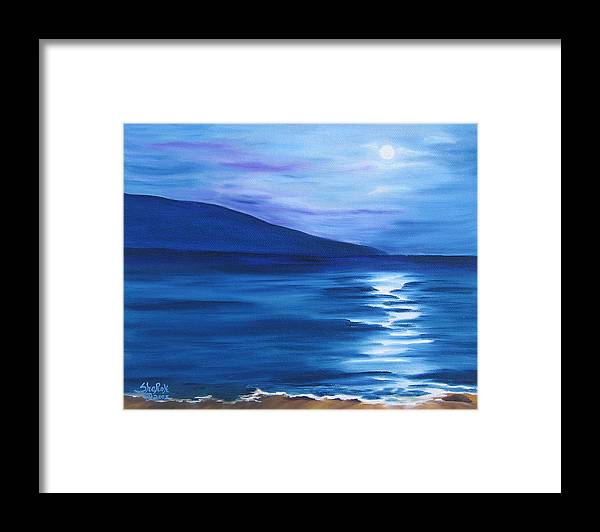 Landscape Framed Print featuring the painting Hanalei Moon by SheRok Williams