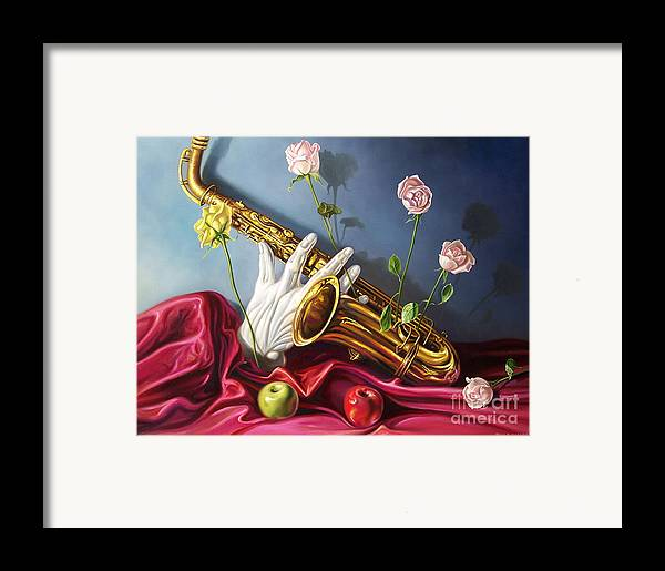 Still Life Framed Print featuring the painting Hand And Sax by Arnold Hurley