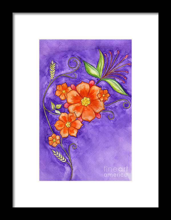Hand Drawn Framed Print featuring the painting Hand Drawn Pencil And Watercolour Flowers In Orange And Purple by Purrnickerty Cat
