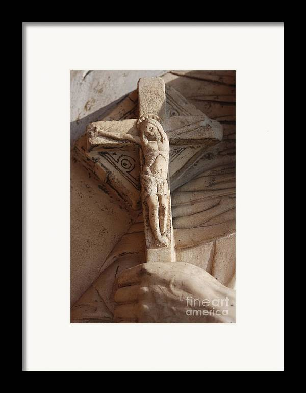 Sculpture Framed Print featuring the photograph Hand Holding Crucifix In Venice by Michael Henderson