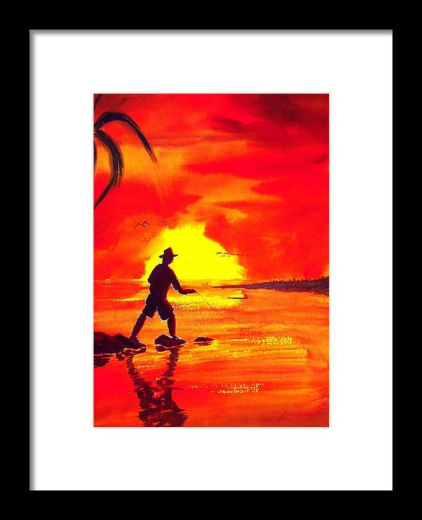 Seascape Framed Print featuring the painting Hand Line Fisherman by Buster Dight