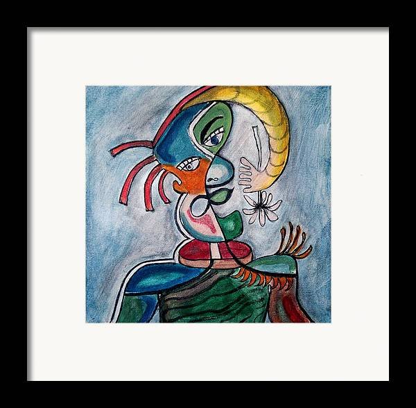 Abstract Face Framed Print featuring the painting Hand Me A Flower by W Todd Durrance