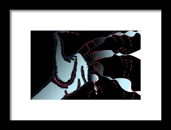 Hand Framed Print featuring the digital art Hand Melting by Christopher Sprinkle