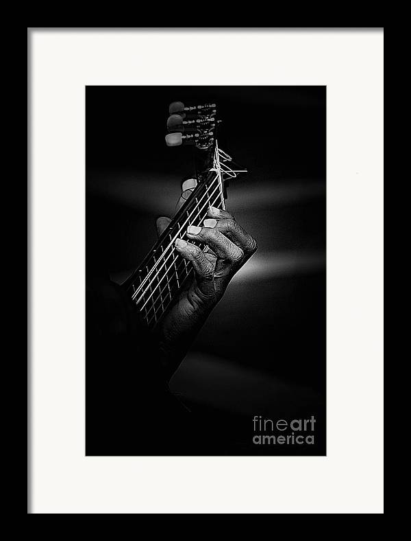 Guitar Framed Print featuring the photograph Hand Of A Guitarist In Monochrome by Sheila Smart Fine Art Photography