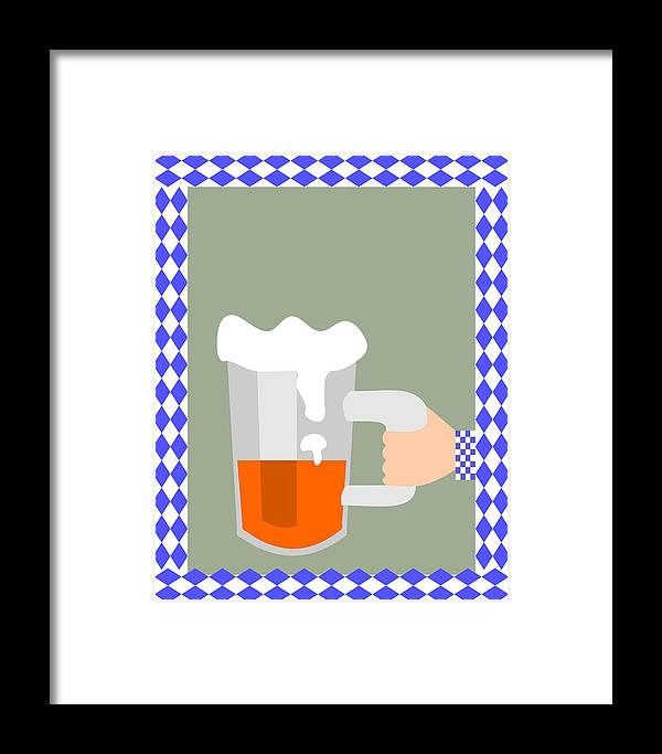 Abstract Framed Print featuring the digital art Hand With Beer by Lenka Rottova