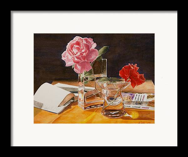 Rose Framed Print featuring the painting Handbuch by Nik Helbig