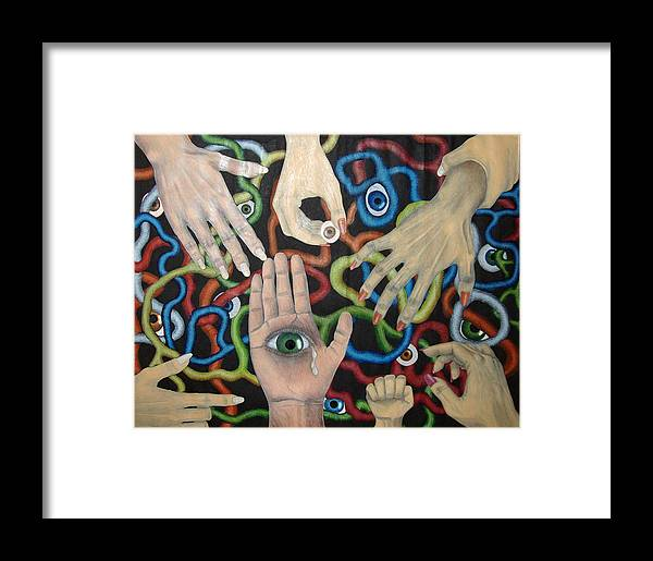 Collage Framed Print featuring the drawing Hands And Eyes by Nancy Mueller