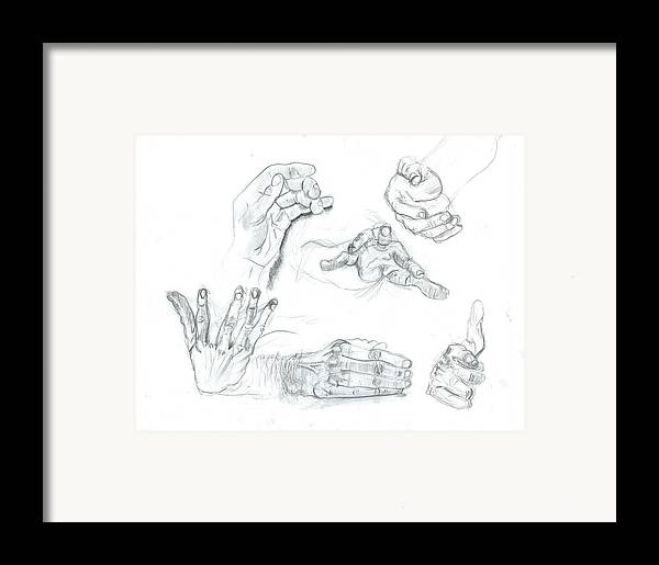 Framed Print featuring the drawing Hands by Joseph Arico