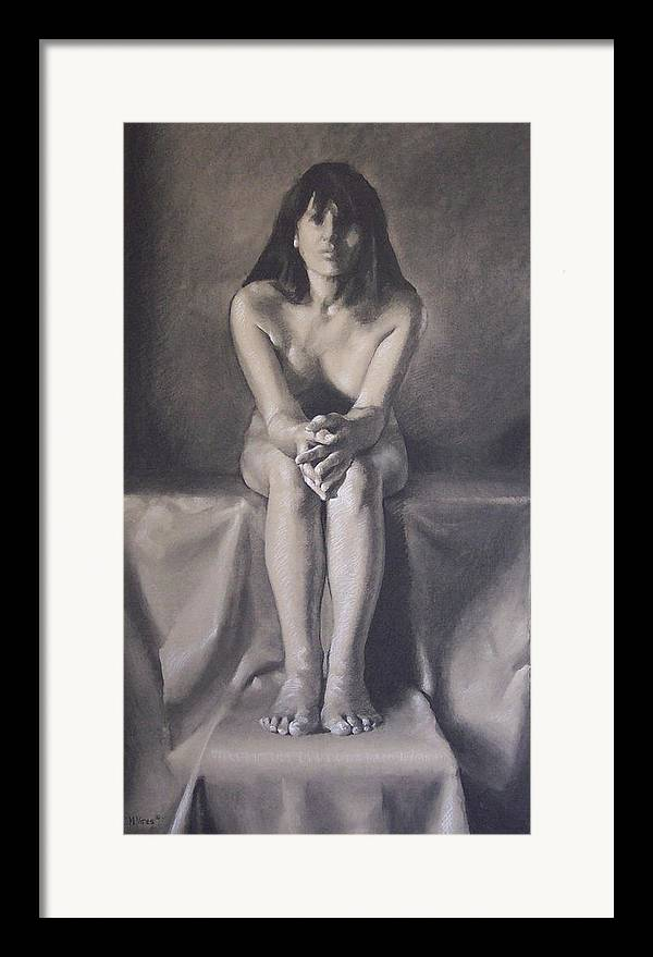 Charcoal Framed Print featuring the drawing Hands by Michael Vires