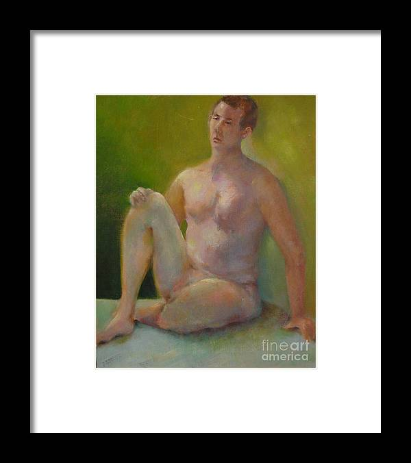 Figure Framed Print featuring the painting Handsome      Copyrighted by Kathleen Hoekstra