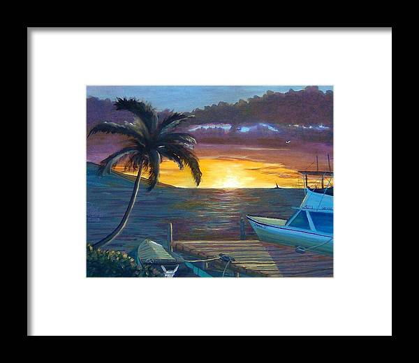 Seascape Framed Print featuring the painting Hang Loose Harbor by Ryan Williams