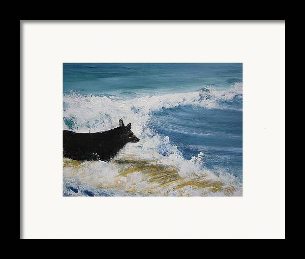 Surfing Framed Print featuring the painting Hang What Where. by Laura Johnson