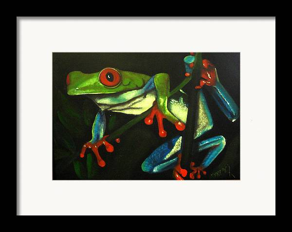 Red Eyed Tree Frog Framed Print featuring the painting Hangin Out by Darlene Green