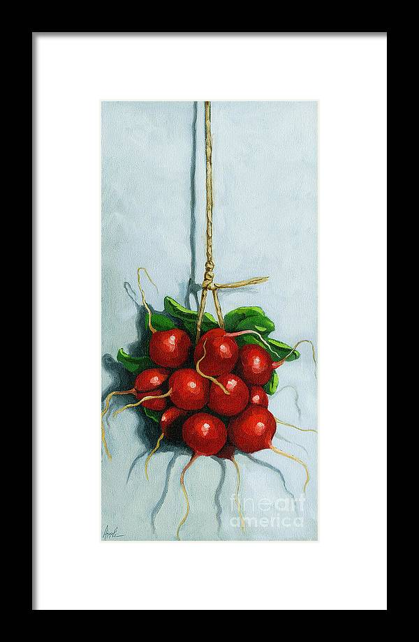 Radishes Framed Print featuring the painting Hanging Around - Radishes Still Life Painting by Linda Apple