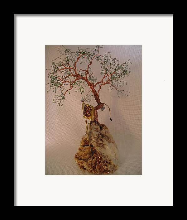 Metal Tree Framed Print featuring the sculpture Hanging It Up by Judy Byington