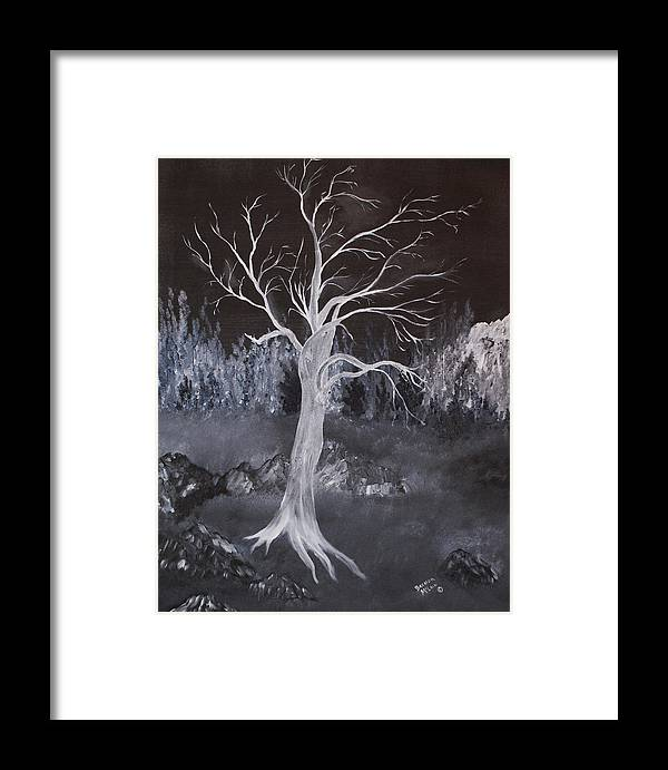 Abstract Framed Print featuring the painting Hanging On by Brenda Goetzinger
