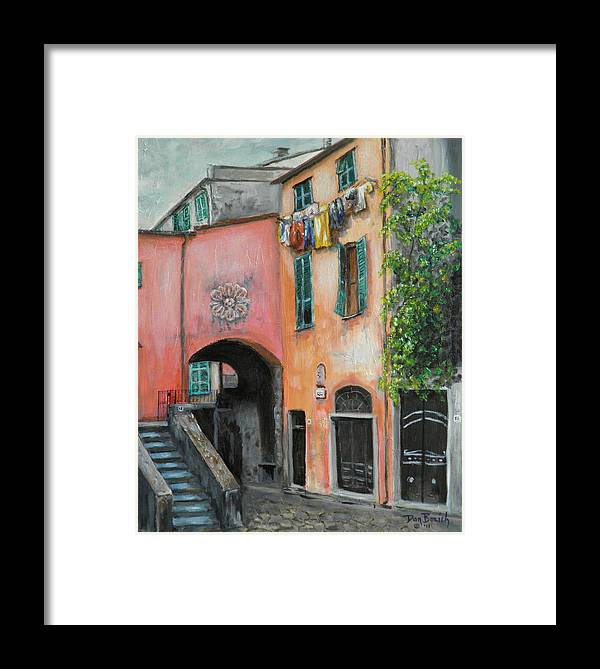 Cityscape Framed Print featuring the painting Hanging Out In Monterosso Al Mare by Dan Bozich