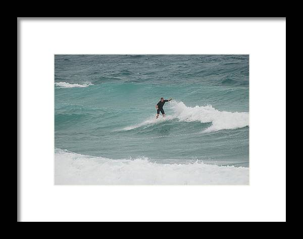Water Framed Print featuring the photograph Hanging Ten by Rob Hans