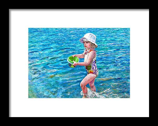 Children Framed Print featuring the painting Hannah By The Sea by Michael Durst