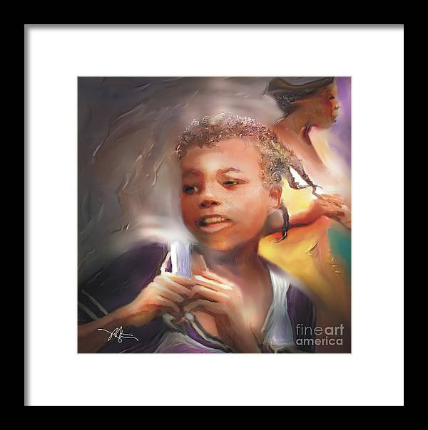 Girl Framed Print featuring the painting Happy At Play by Bob Salo