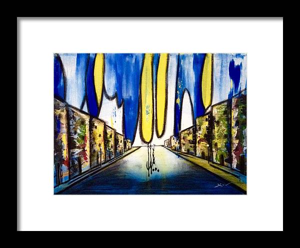 Victor Xiu Art Ballons Happy Most Famous Blue Millions Framed Print featuring the painting Happy Ballons by Victor Xiu