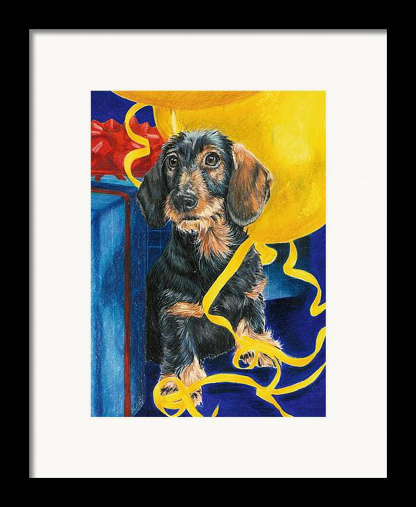 Dogs Framed Print featuring the drawing Happy Birthday by Barbara Keith