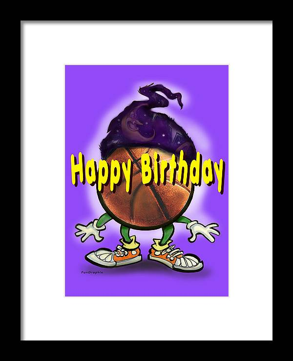 Happy Birthday Framed Print featuring the greeting card Happy Birthday Basketball Wiz by Kevin Middleton