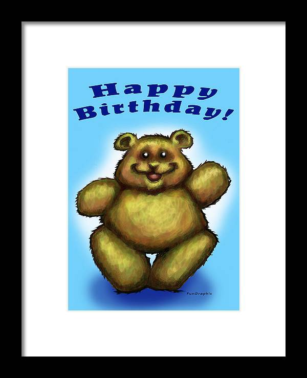 Happy Birthday Framed Print featuring the greeting card Happy Birthday Bear by Kevin Middleton