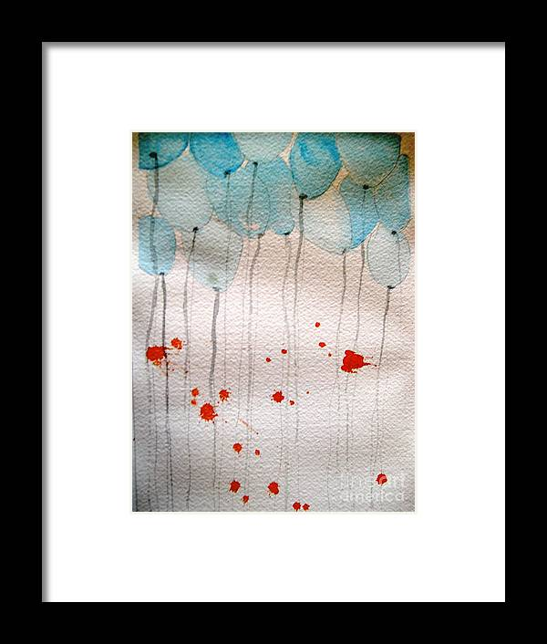 Balloon Celebrate Fun Happy Play Framed Print featuring the painting Happy Birthday Katherine by Patricia Caldwell
