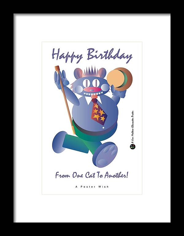 Birthday Framed Print featuring the digital art Happy Birthday Poster by James Maltese