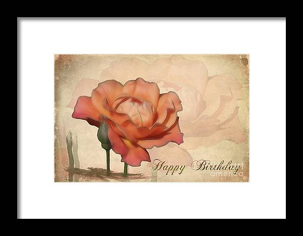 Flower Framed Print featuring the photograph Happy Birthday Peach Rose Card by Teresa Zieba