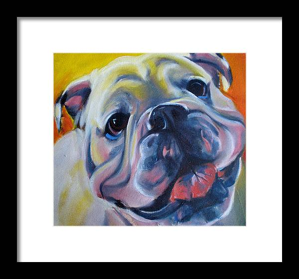 Bulldog Framed Print featuring the painting Happy Boy by Kaytee Esser