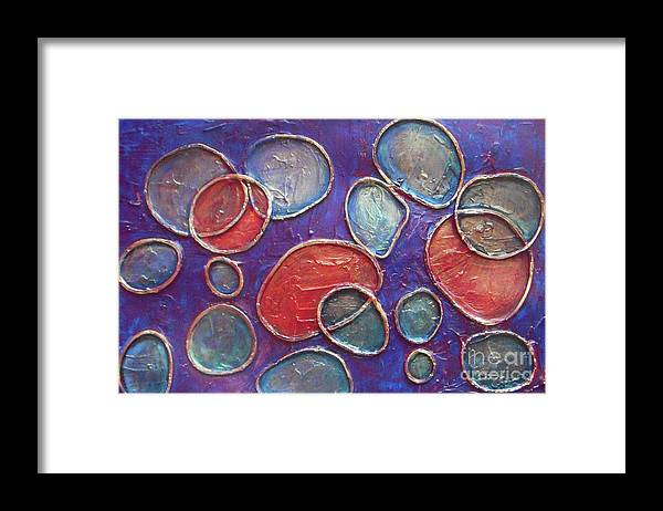 Circles Framed Print featuring the painting Happy Bubbles by Vesna Antic