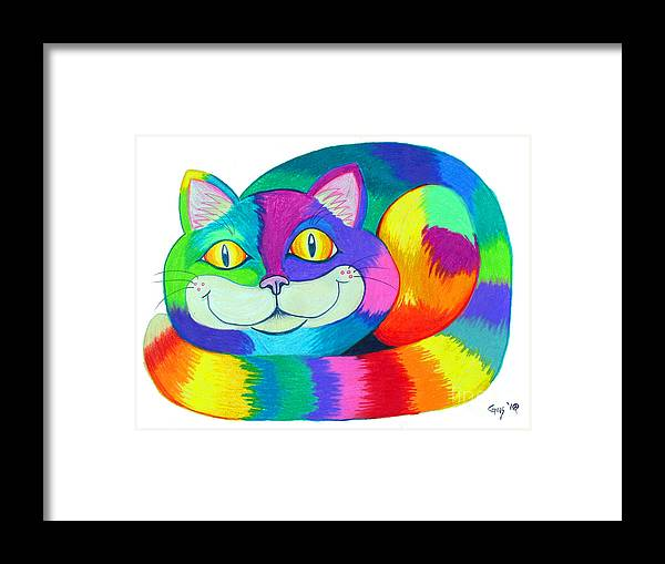 Cat Framed Print featuring the drawing Happy Cat by Nick Gustafson