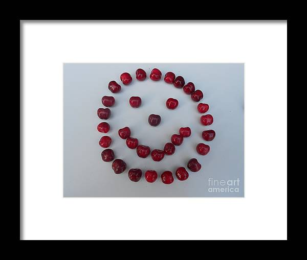 Cherry Framed Print featuring the digital art Happy Cherry Face by Ejbsvm Csilla Photography