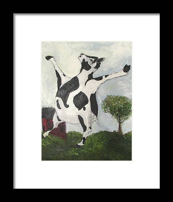 Cow Framed Print featuring the painting Happy Cow by Sarah Goodbread