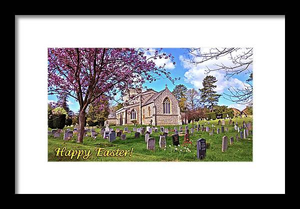Spring Blossom Churchyard Blue Sky Joy Framed Print featuring the photograph Happy Easter by Anne Kotan