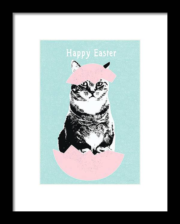 Cat Framed Print featuring the digital art Happy Easter Cat- art by Linda Woods by Linda Woods