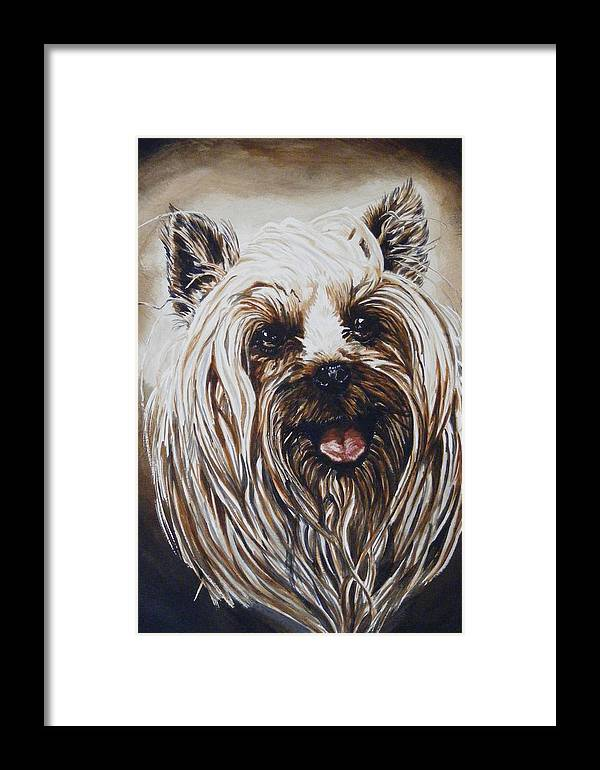 Dog Portraite Framed Print featuring the painting Happy Face by Donald Dean