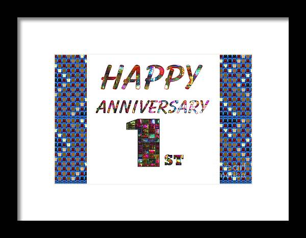 Happy first 1st anniversary celebrations design on greeting cards t happy anniversary framed print featuring the painting happy first 1st anniversary celebrations design on greeting cards m4hsunfo