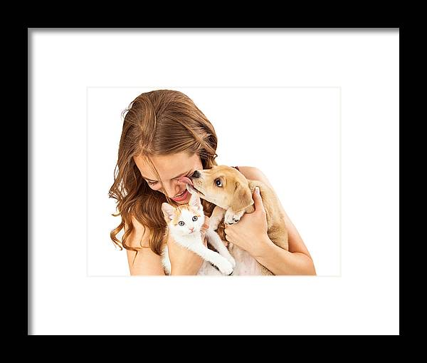 Dog Framed Print featuring the photograph Happy Girl With Kitten And Affectionate Puppy by Susan Schmitz
