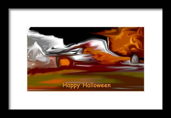 Abstract Digital Painting Framed Print featuring the digital art Happy Halloween by David Lane