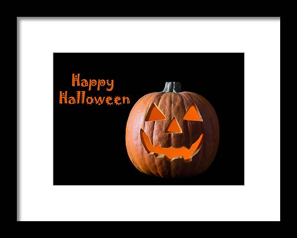 Pumpkin; Halloween; Card Framed Print featuring the photograph Happy Halloween by Georgette Grossman