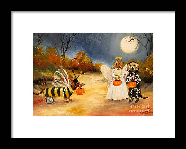 Dachshund Framed Print featuring the painting Happy Halloweenies Dachshund Art by Stella Violano