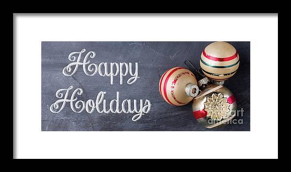 Mug Framed Print featuring the photograph Happy Holidays Chalkboard Mug by Edward Fielding