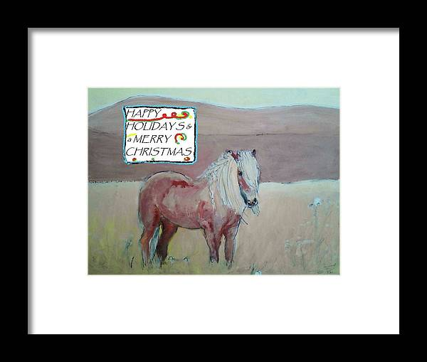 Horse Framed Print featuring the painting Happy Holidays by Todd Artist