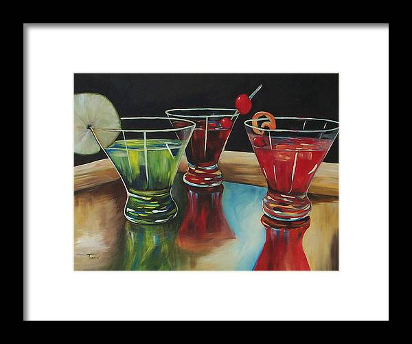 Cosmopolitan Framed Print featuring the painting Happy Hour 2007 by Torrie Smiley