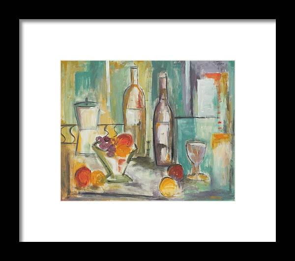 Abstract Framed Print featuring the painting Happy Hour I by Trish Toro